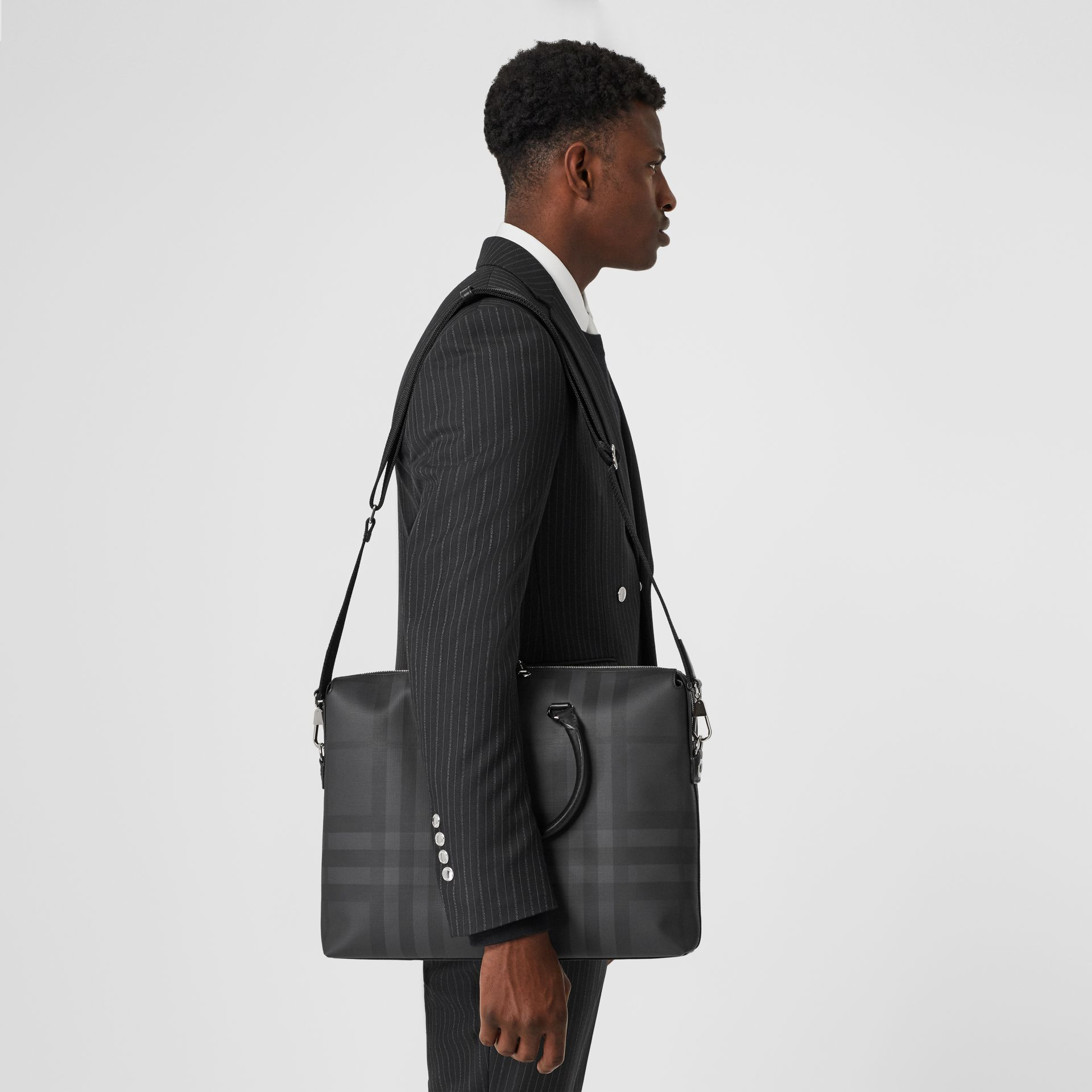 Large London Check and Leather Briefcase in Dark Charcoal - Men | Burberry Hong Kong - gallery image 2