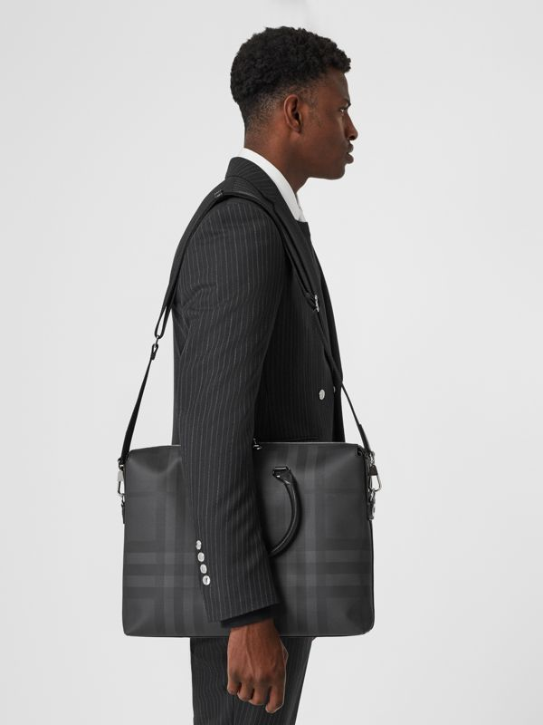 Large London Check and Leather Briefcase in Dark Charcoal - Men | Burberry - cell image 2