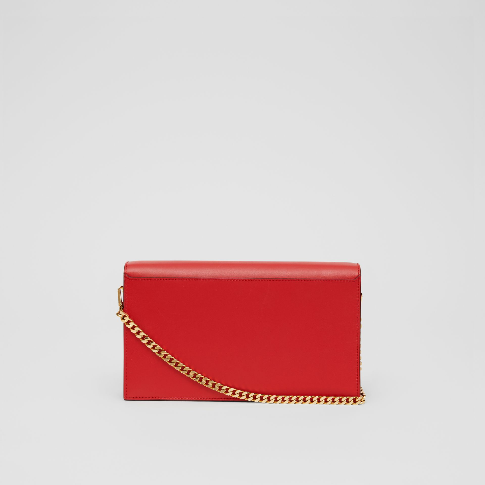 Small Leather TB Envelope Clutch in Bright Military Red - Women | Burberry - gallery image 7