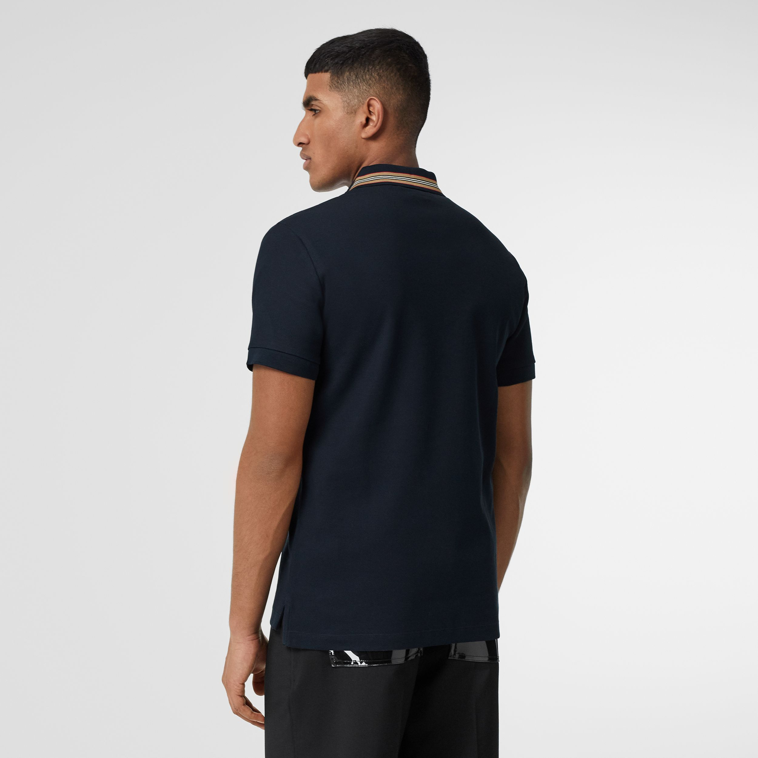 Icon Stripe Detail Cotton Piqué Polo Shirt in Navy - Men | Burberry - 3