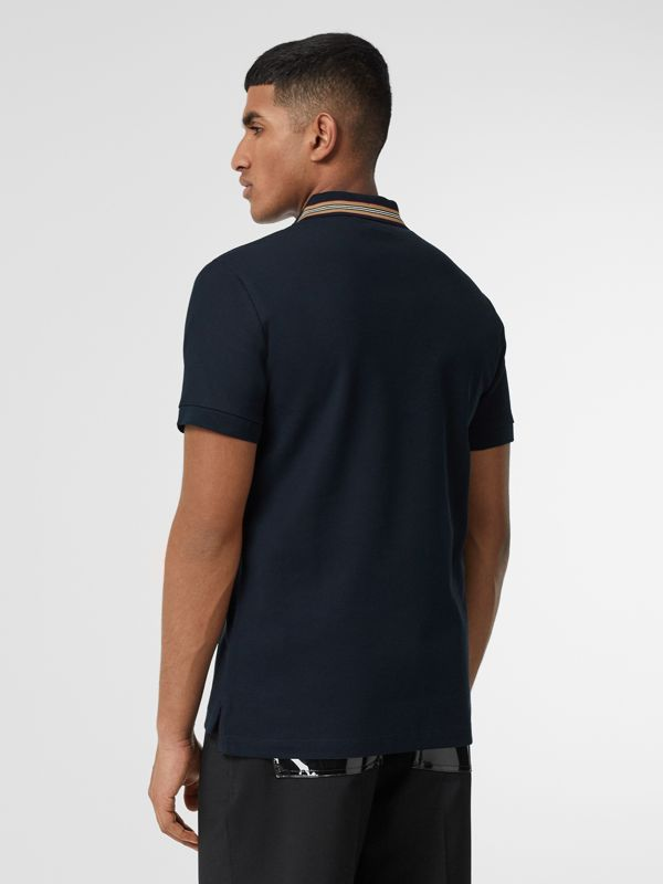 Icon Stripe Detail Cotton Piqué Polo Shirt in Navy - Men | Burberry - cell image 2