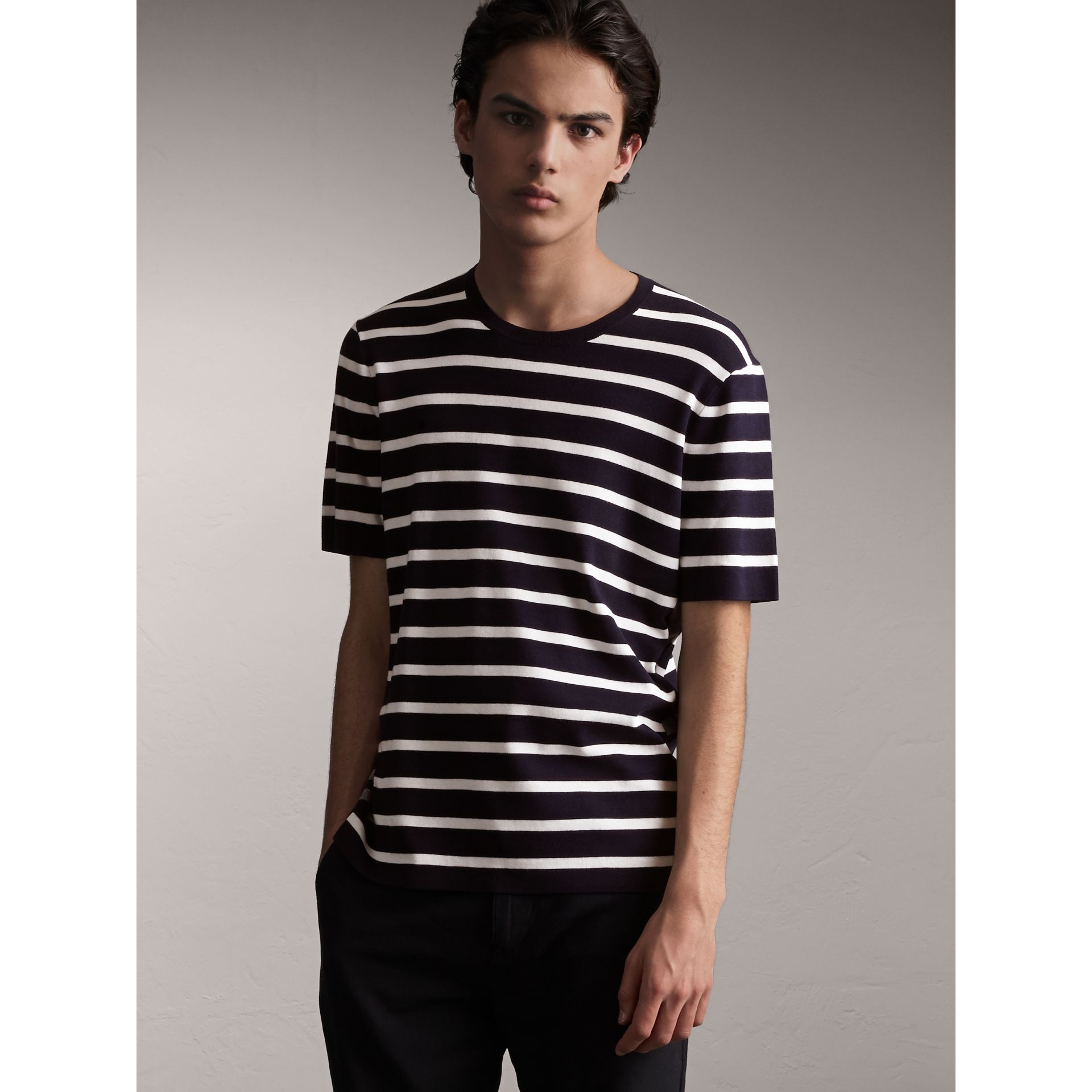 Check Detail Striped Silk Cotton T-shirt in Navy - Men | Burberry - gallery image 5