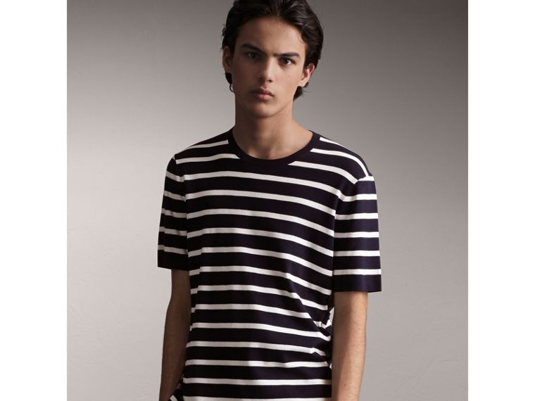 Check Detail Striped Silk Cotton T-shirt in Navy - Men | Burberry - cell image 4
