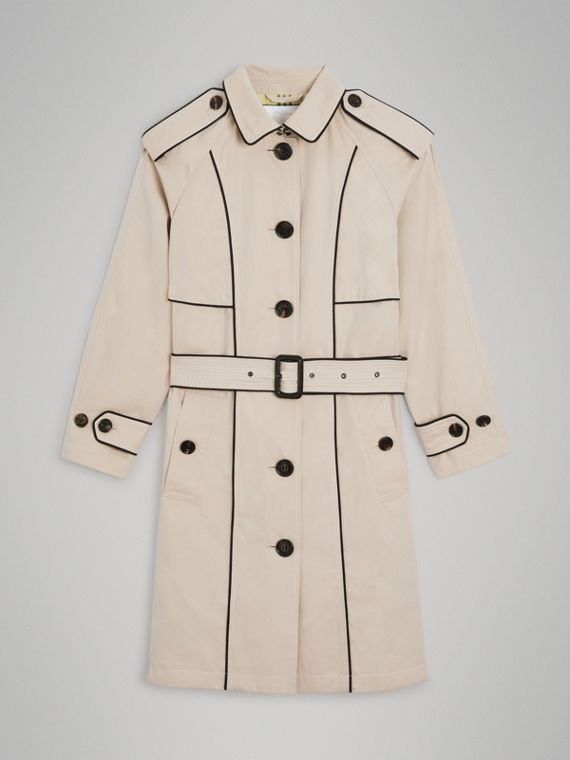 Piping Detail Tropical Gabardine Trench Coat in Stone
