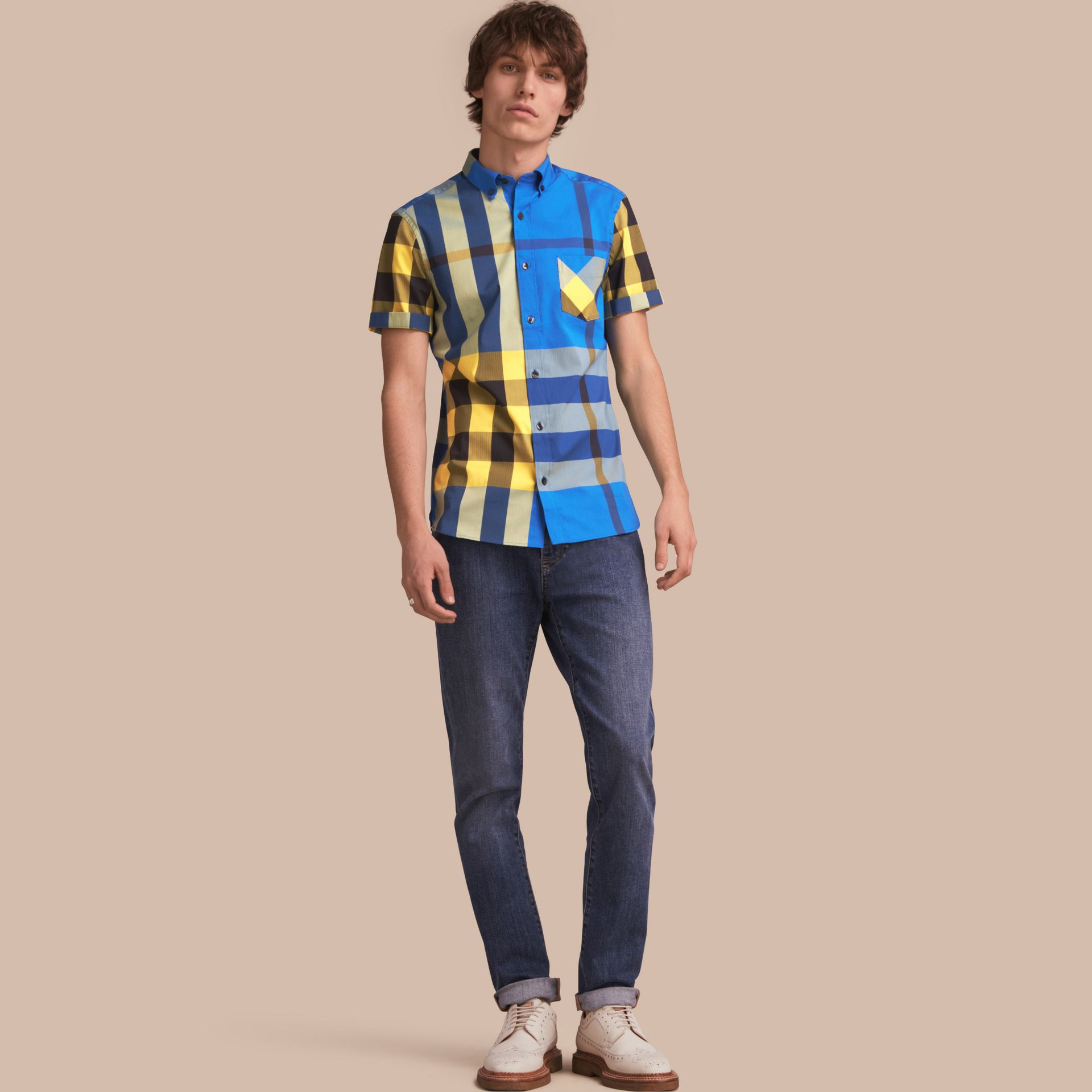 Short-sleeve Check Stretch Cotton Blend Shirt in Bright Canvas Blue - Men | Burberry - gallery image 1