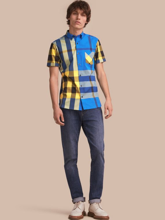 Short-sleeved Check Stretch Cotton Blend Shirt Bright Canvas Blue