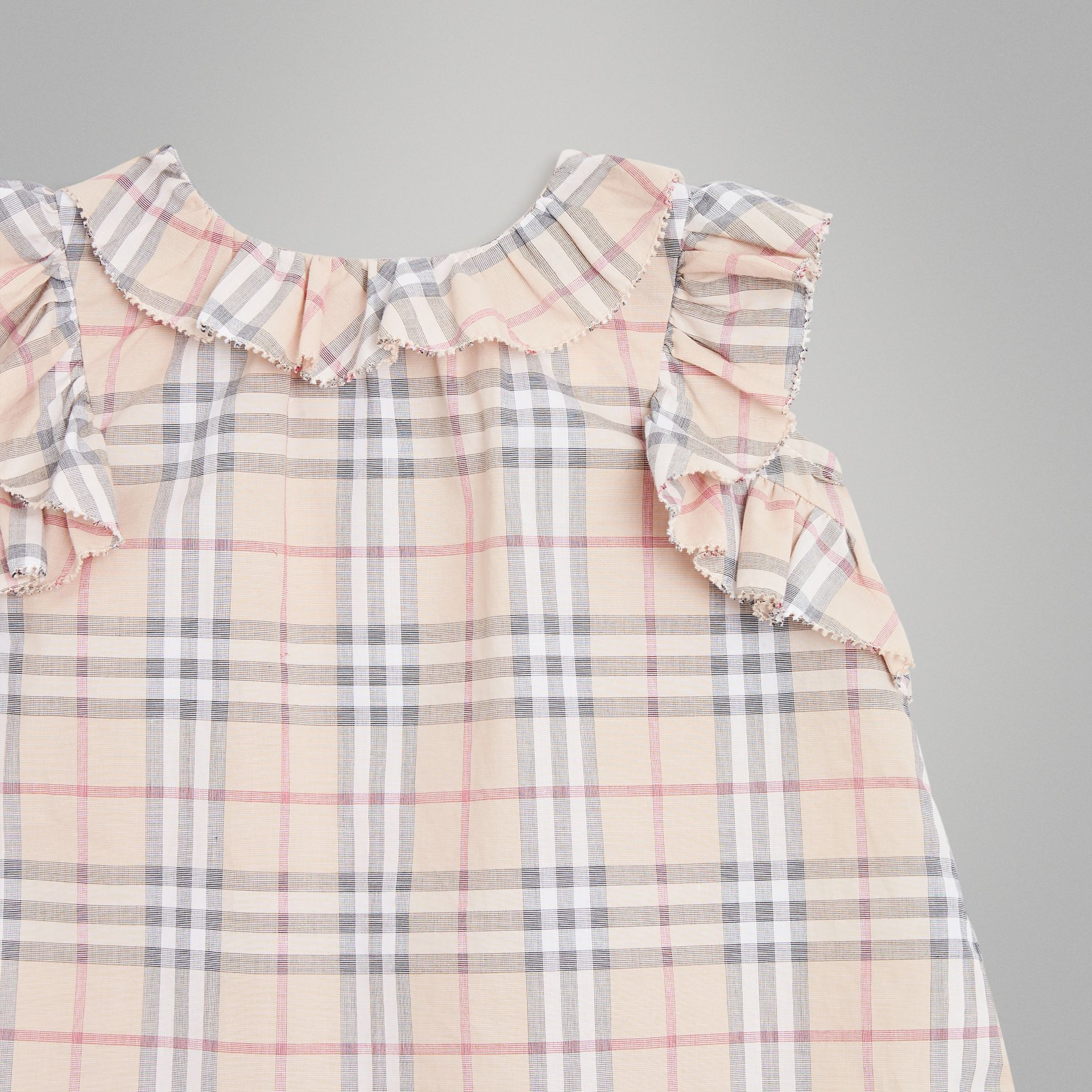 Ruffle Detail Check Cotton Dress with Bloomers in Pale Stone - Children | Burberry - gallery image 5