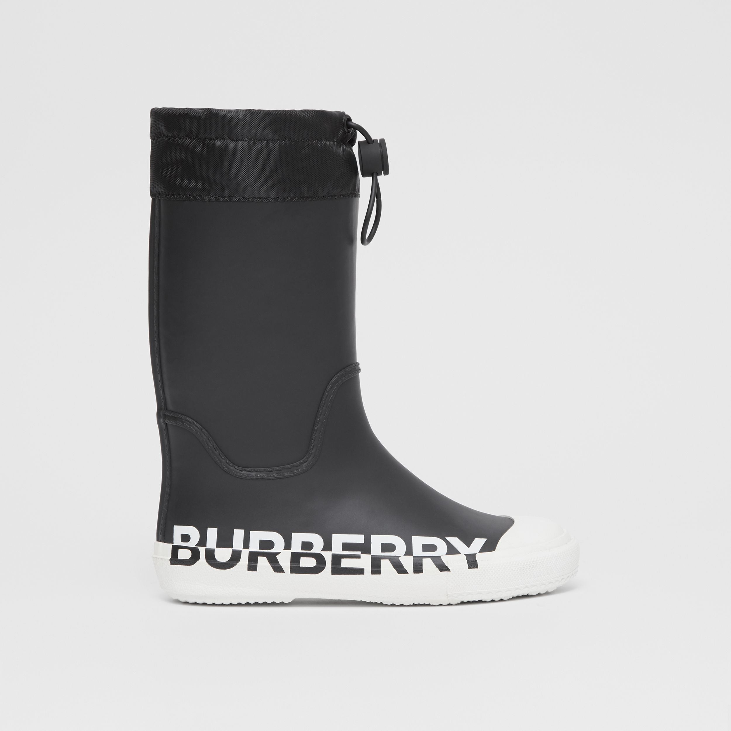 Logo Print Two-tone Rubber Rain Boots in Black - Children | Burberry - 4