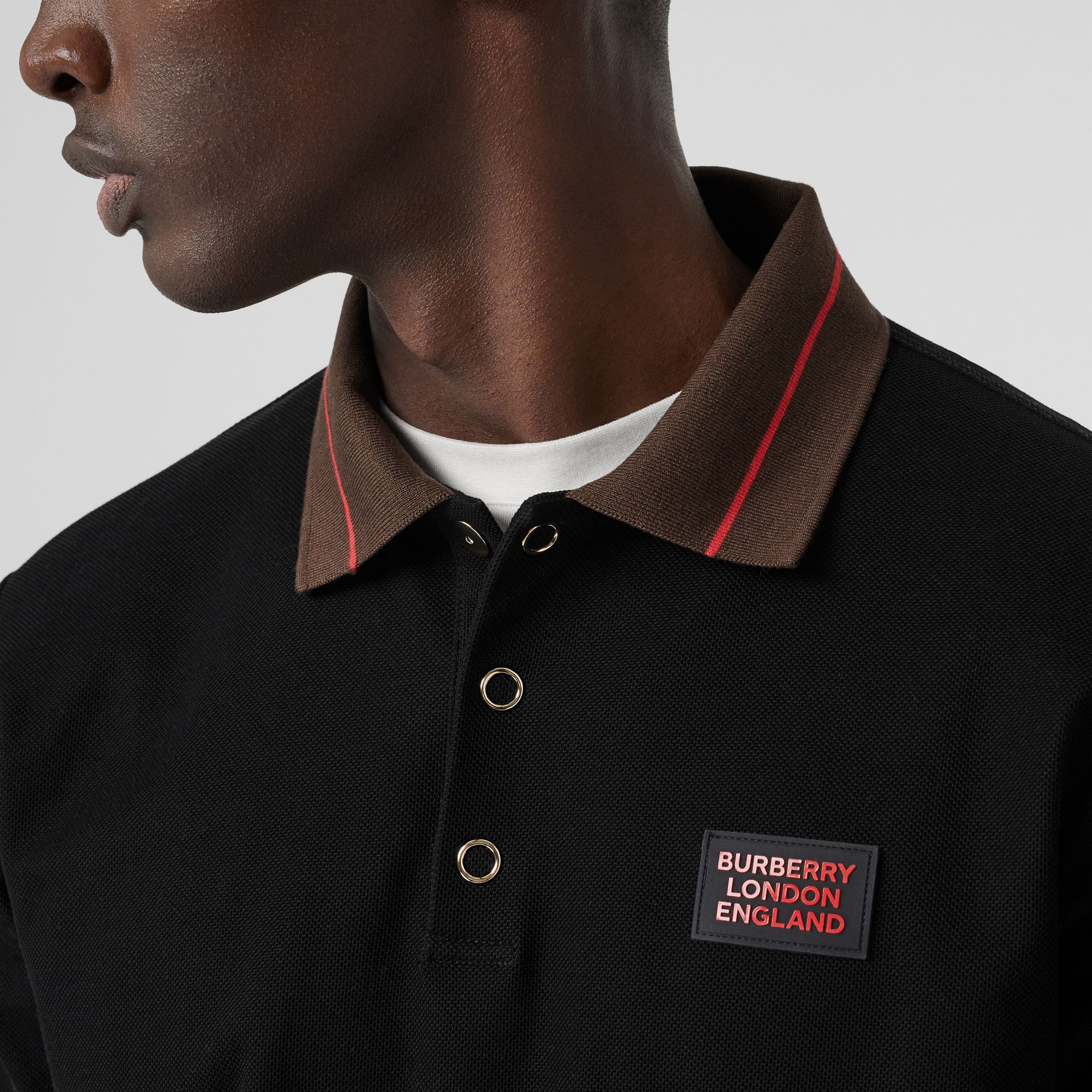 Logo Detail Cotton Piqué Polo Shirt in Black - Men | Burberry - gallery image 1