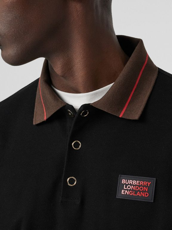 Logo Detail Cotton Piqué Polo Shirt in Black - Men | Burberry - cell image 1