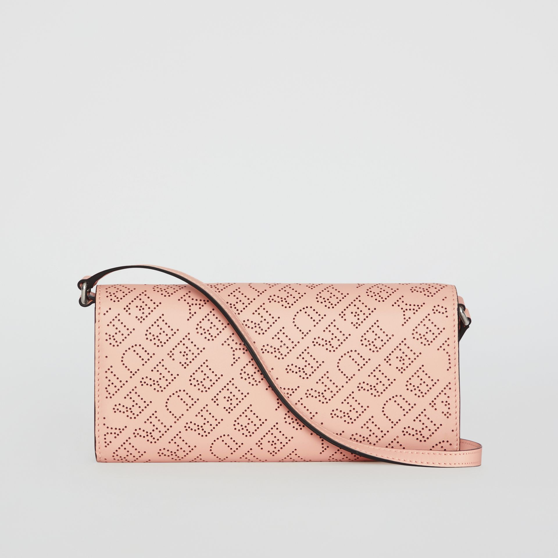 Perforated Logo Leather Wallet with Detachable Strap in Pale Fawn Pink - Women | Burberry - gallery image 2
