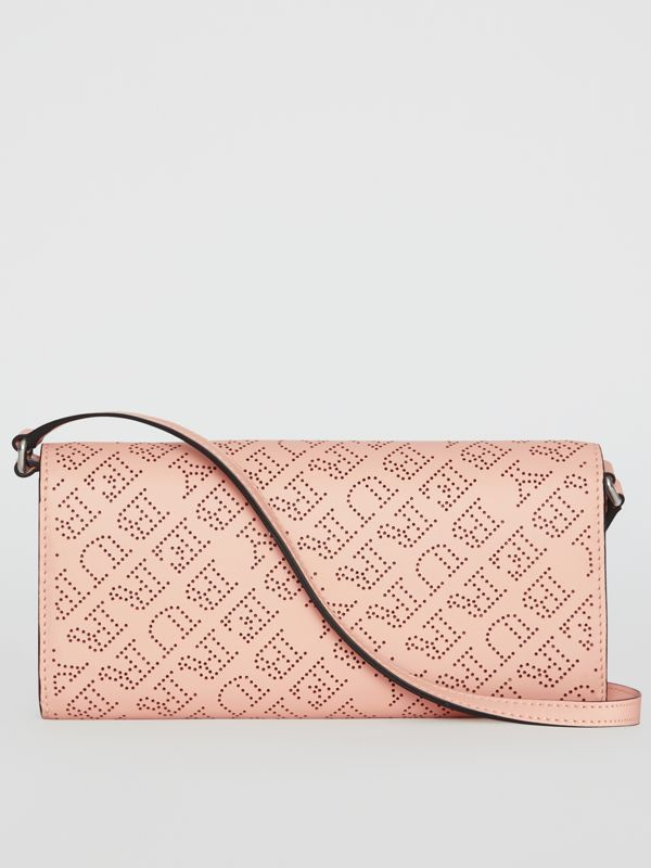Perforated Logo Leather Wallet with Detachable Strap in Pale Fawn Pink - Women | Burberry - cell image 2