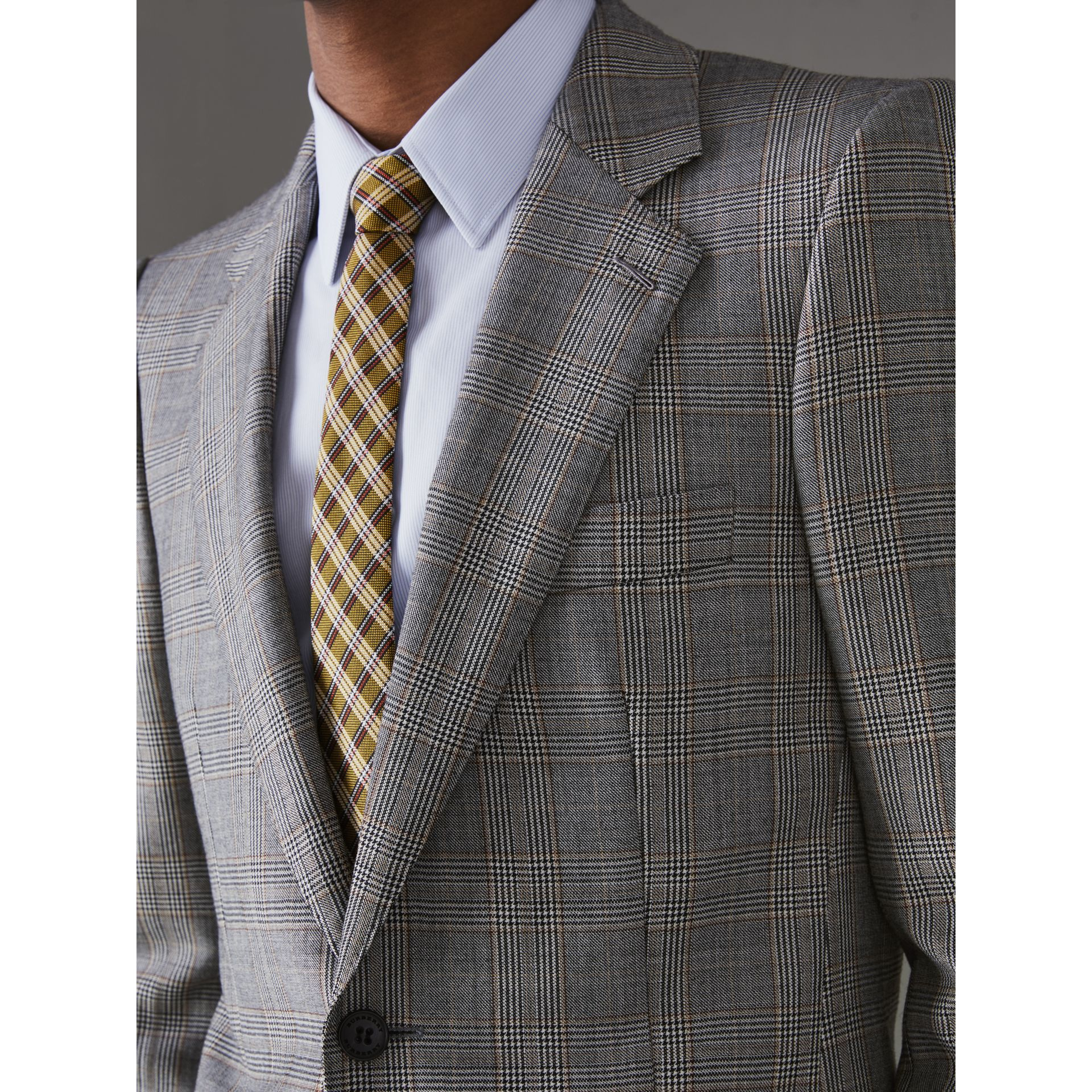 Slim Fit Prince of Wales Check Wool Cashmere Suit in Mid Grey - Men | Burberry - gallery image 1