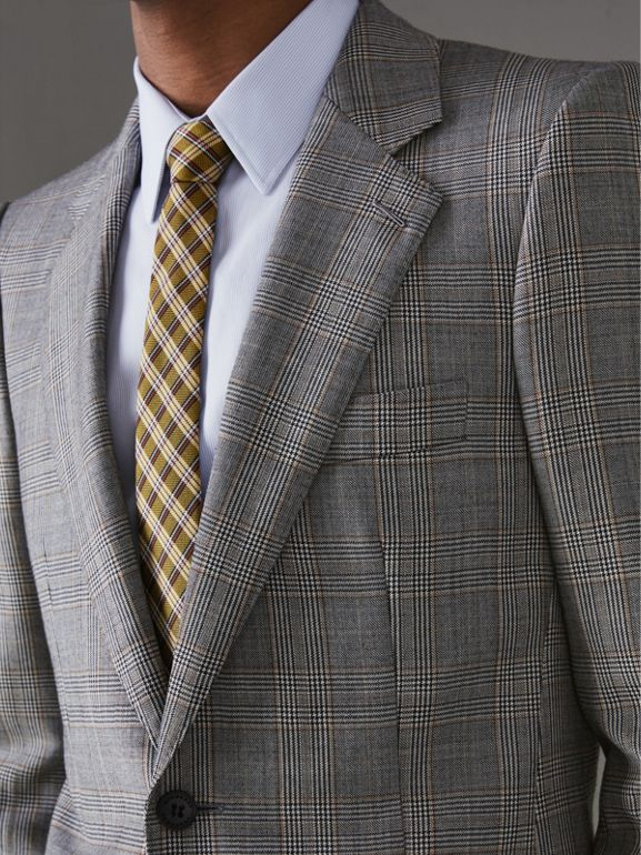 Slim Fit Prince of Wales Check Wool Cashmere Suit in Mid Grey - Men | Burberry United Kingdom - cell image 1
