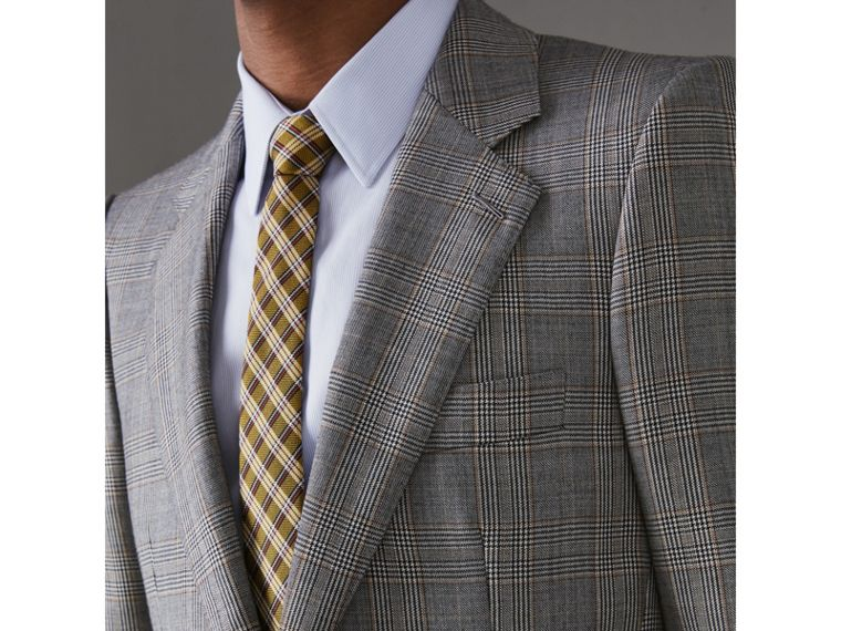 Slim Fit Prince of Wales Check Wool Cashmere Suit in Mid Grey - Men | Burberry - cell image 1