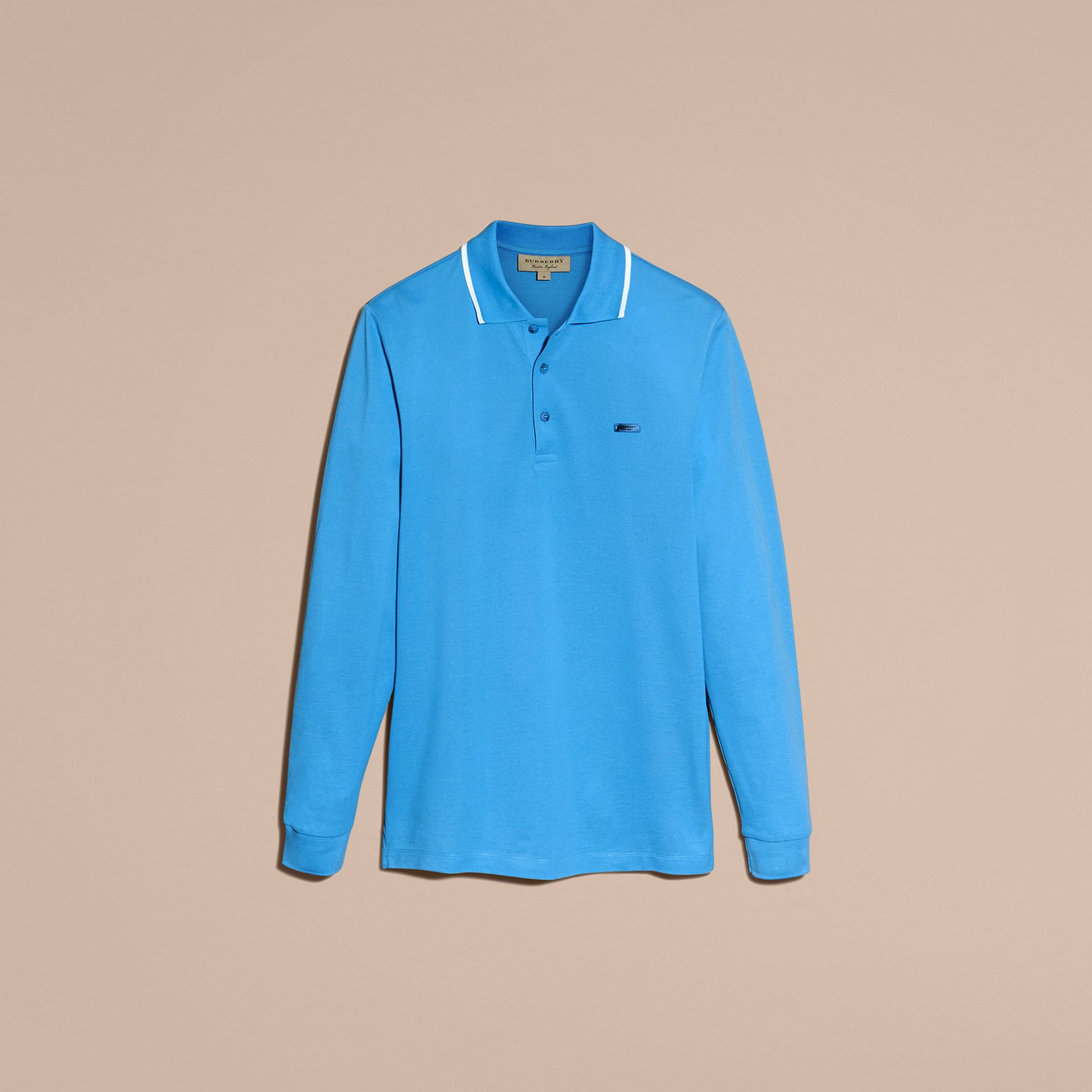Long-sleeved Tipped Cotton Piqué Polo Shirt Chalk Blue - gallery image 4