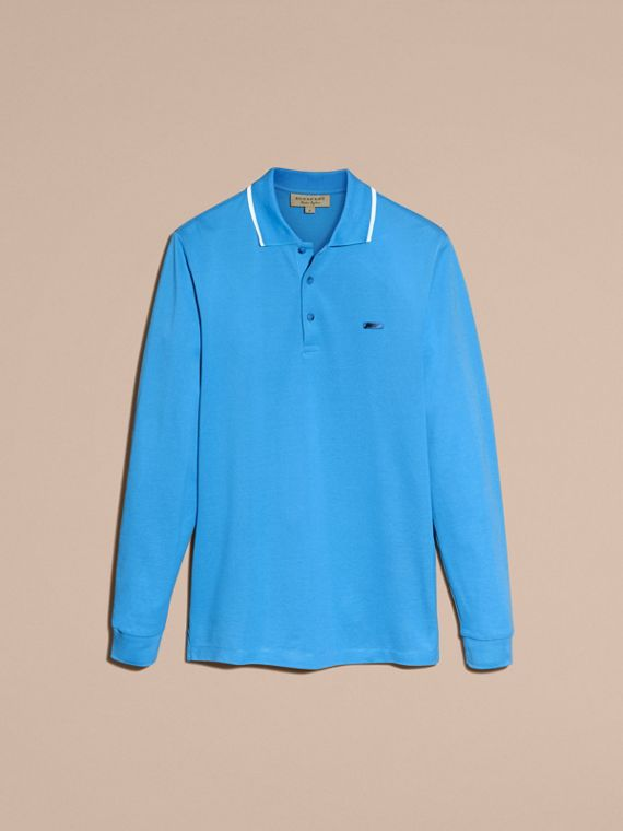 Long-sleeved Tipped Cotton Piqué Polo Shirt Chalk Blue - cell image 3