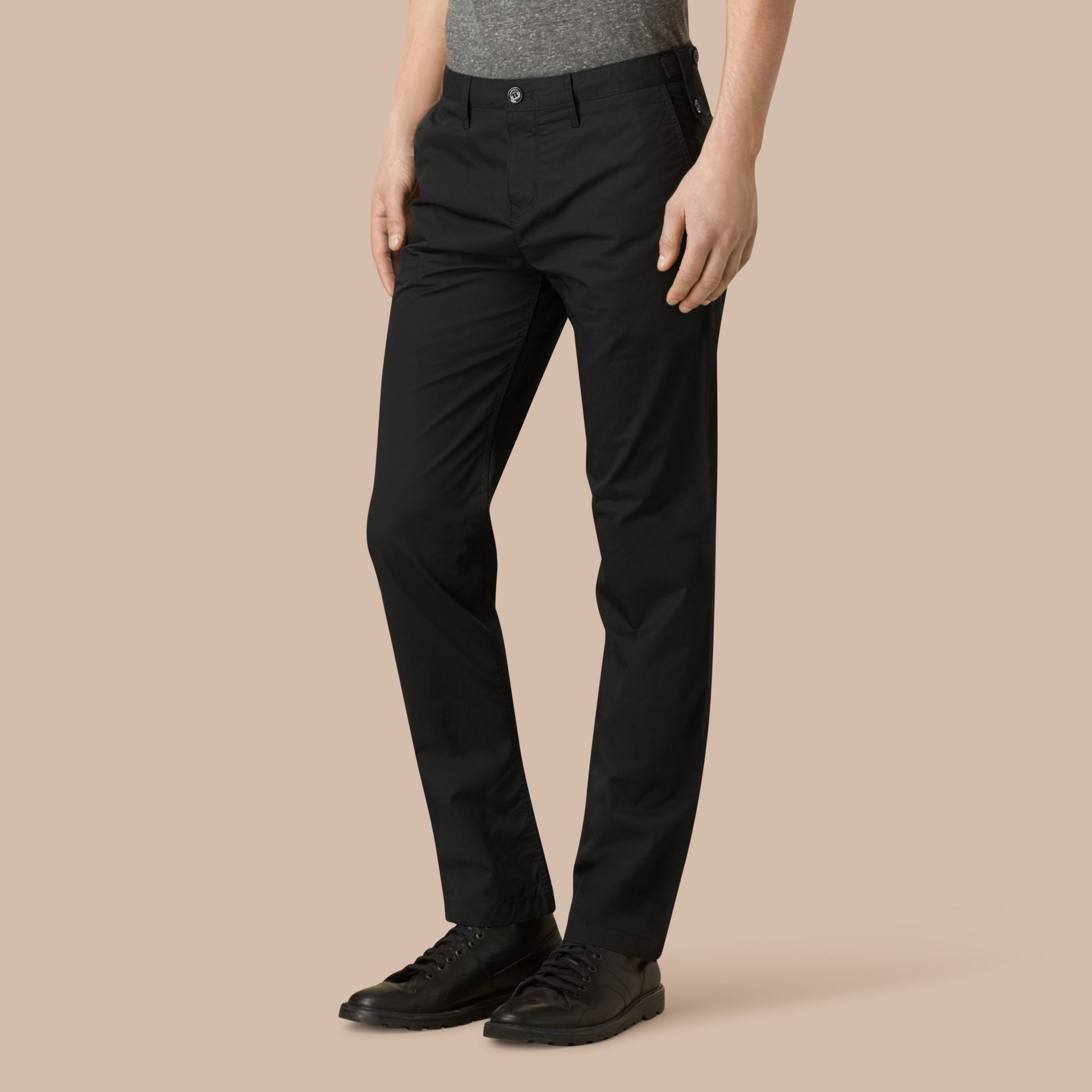 Straight Fit Cotton Chinos Black - gallery image 4