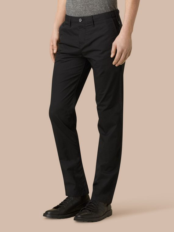 Black Straight Fit Cotton Chinos Black - cell image 3