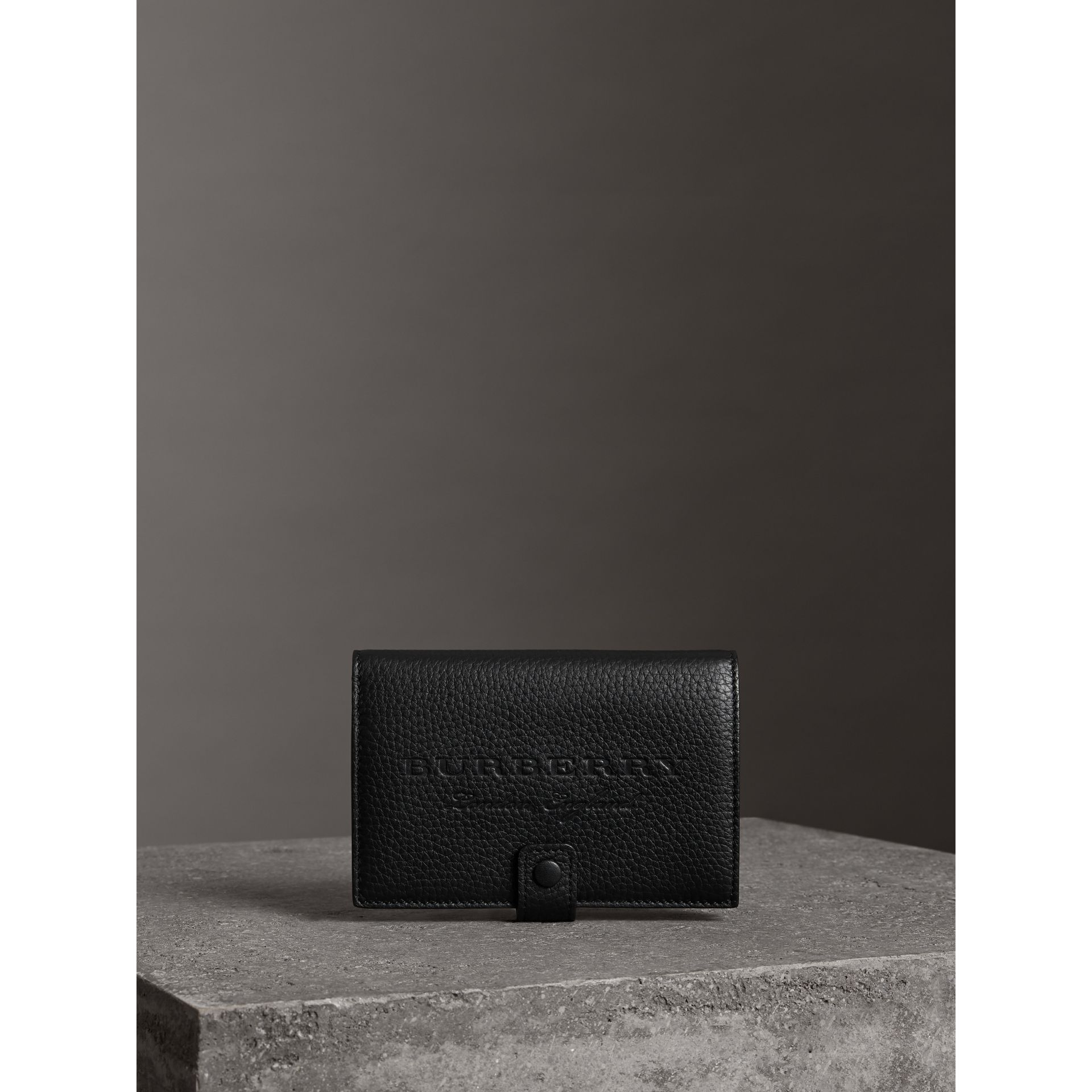 Embossed Grainy Leather Folding Wallet in Black - Women | Burberry Australia - gallery image 4