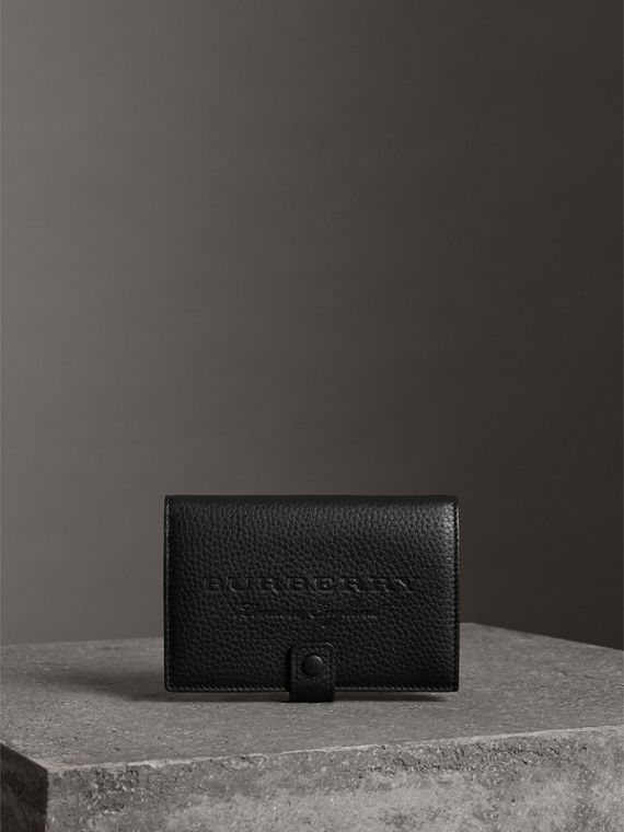 Embossed Grainy Leather Folding Wallet in Black