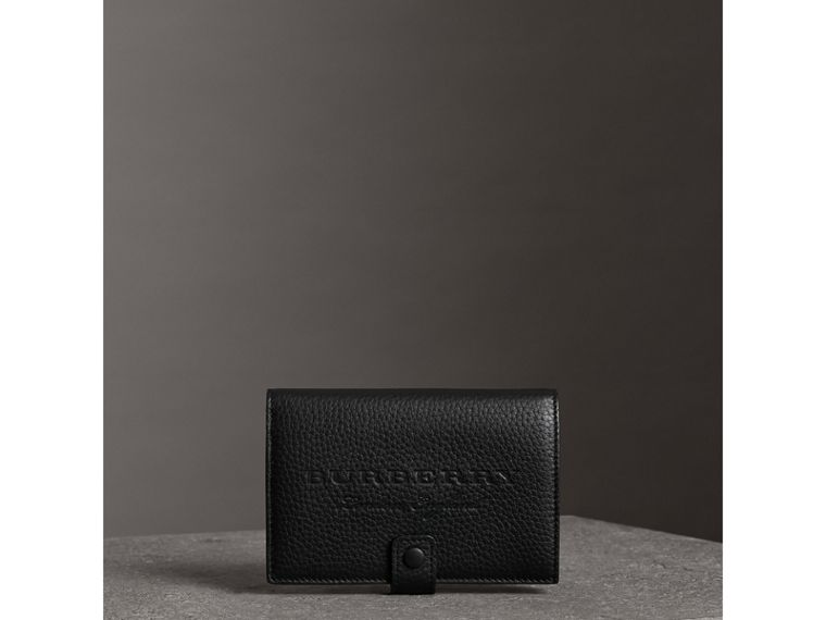 Embossed Grainy Leather Folding Wallet in Black - Women | Burberry Australia - cell image 4