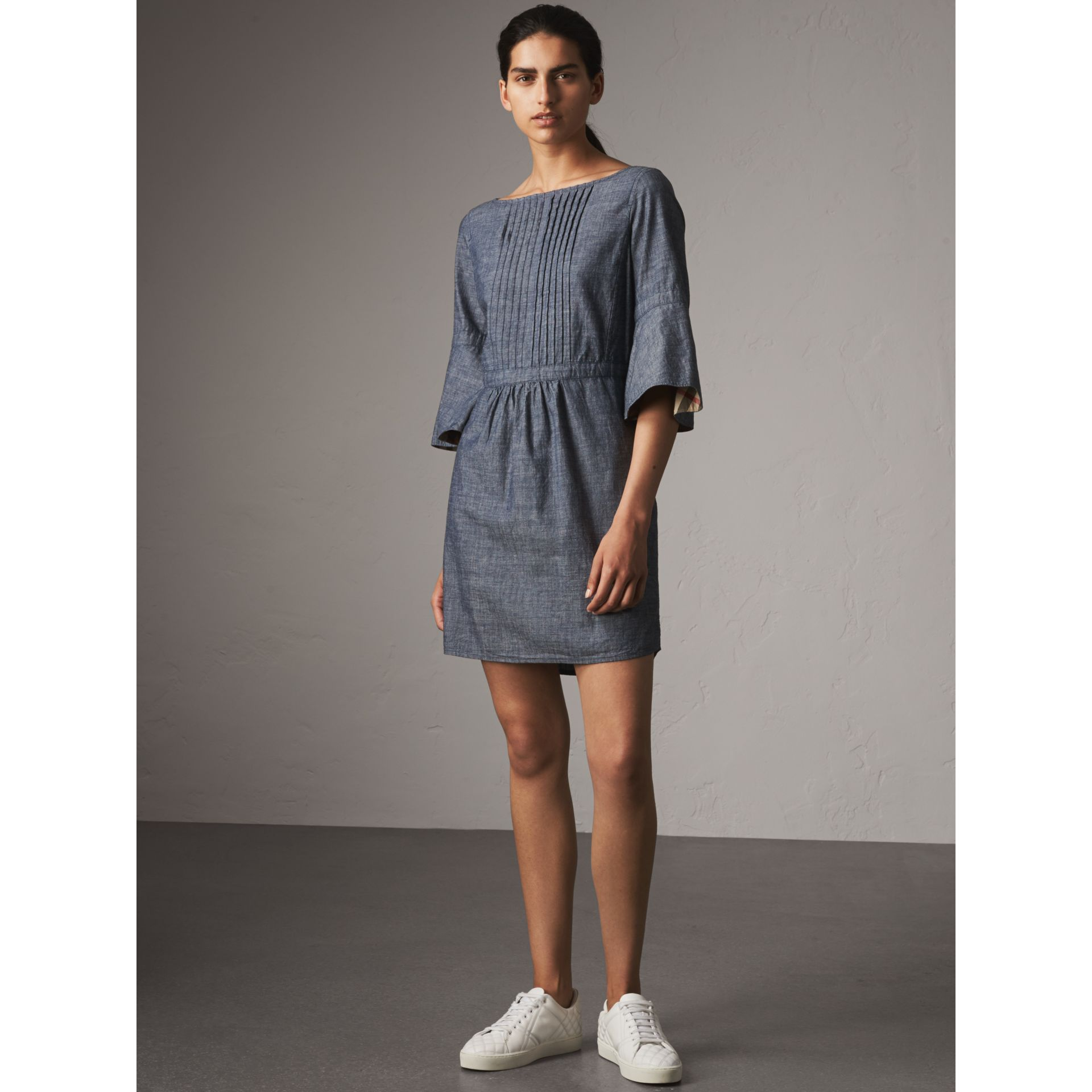 Bell Sleeve Cotton Chambray Dress with Check Detail - Women | Burberry - gallery image 5