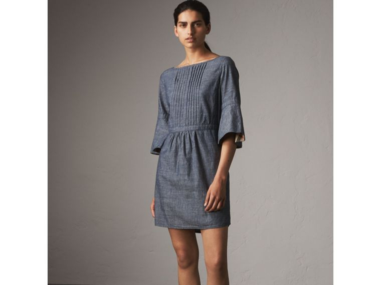 Bell Sleeve Cotton Chambray Dress with Check Detail - Women | Burberry - cell image 4