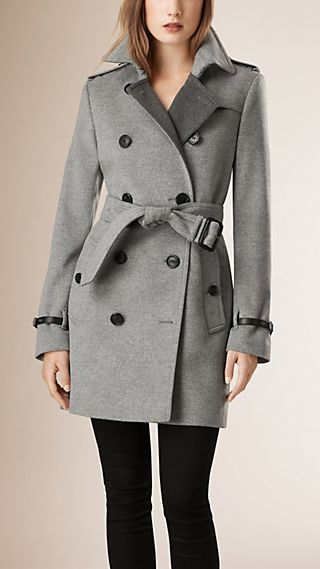 Leather Trim Wool Cashmere Trench Coat