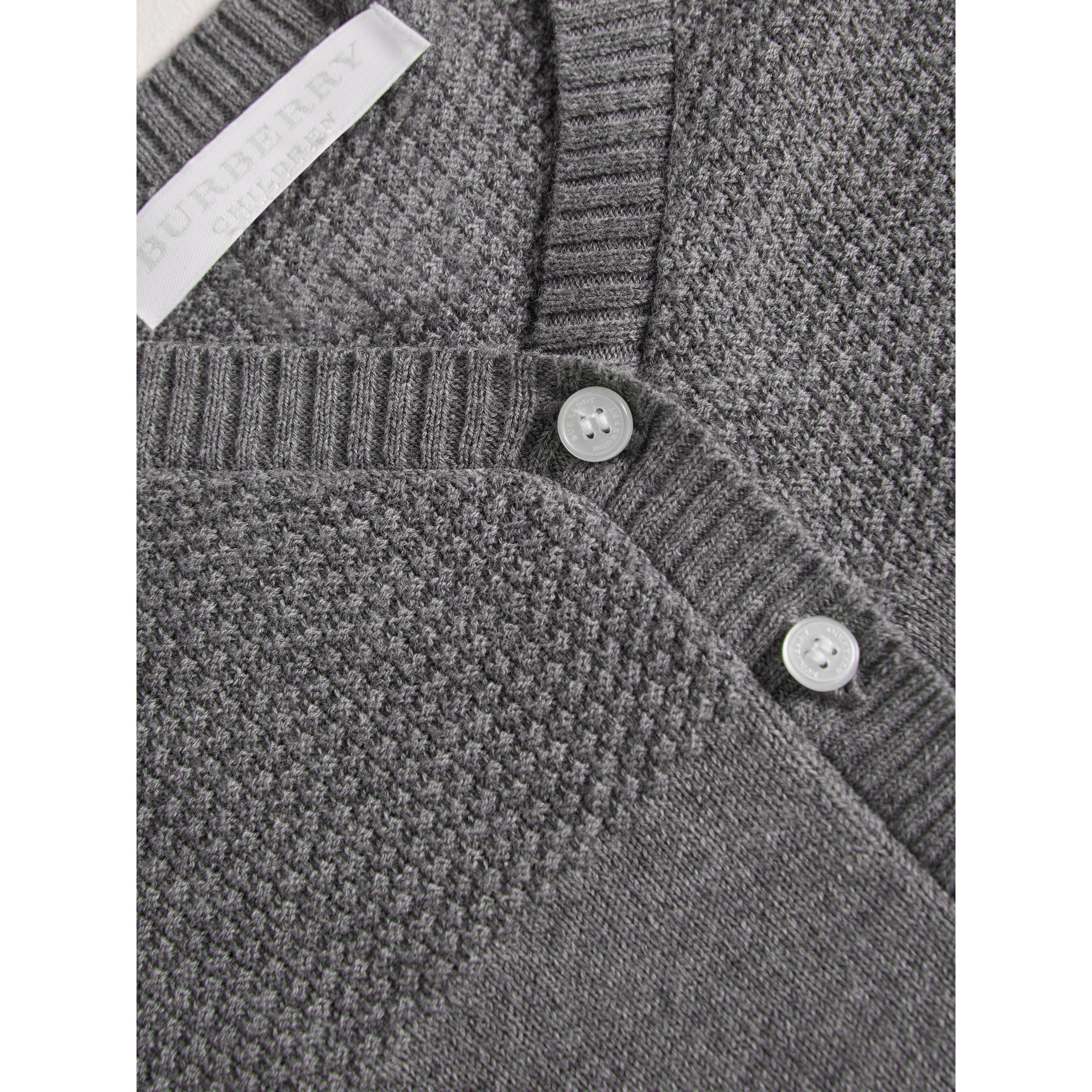 Multi-stitch Cotton Cardigan in Mid Grey Melange | Burberry - gallery image 1