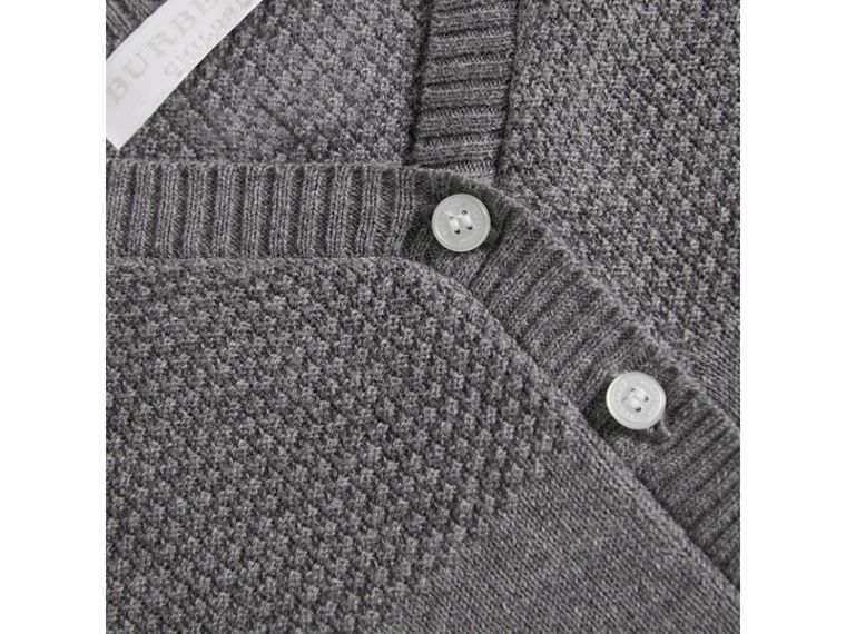 Multi-stitch Cotton Cardigan in Mid Grey Melange | Burberry - cell image 1