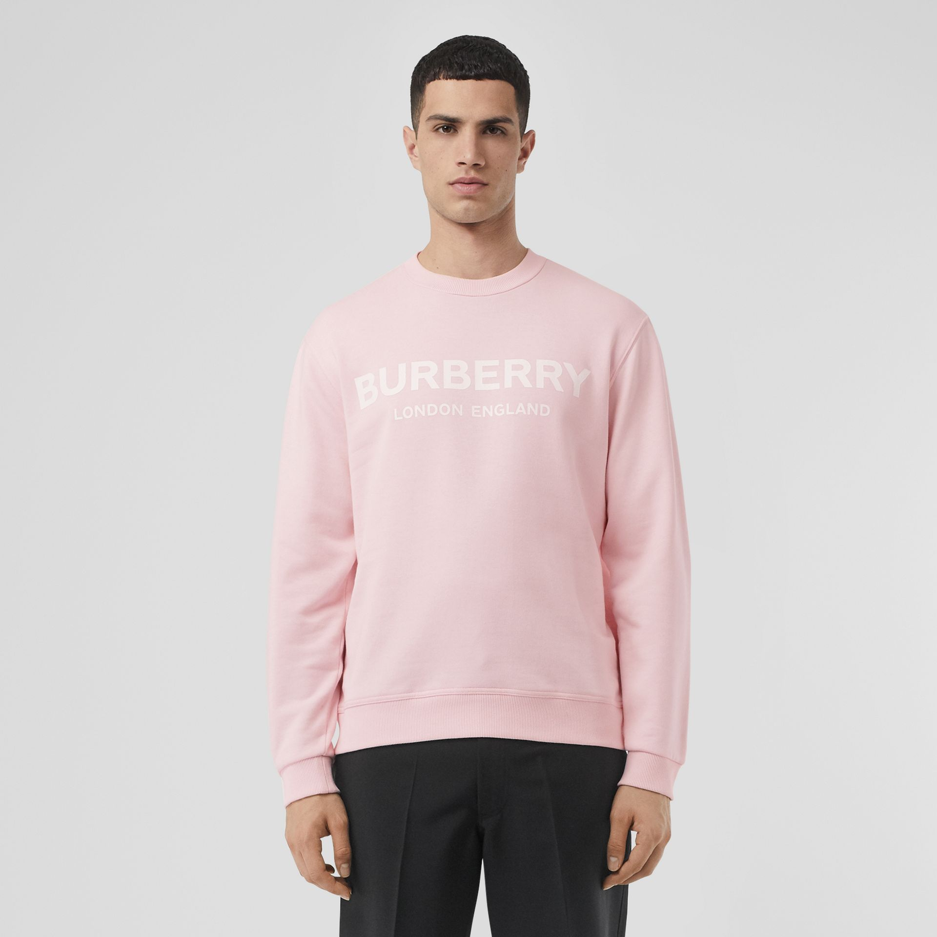 Logo Print Cotton Sweatshirt in Alabaster Pink - Men | Burberry United Kingdom - gallery image 0