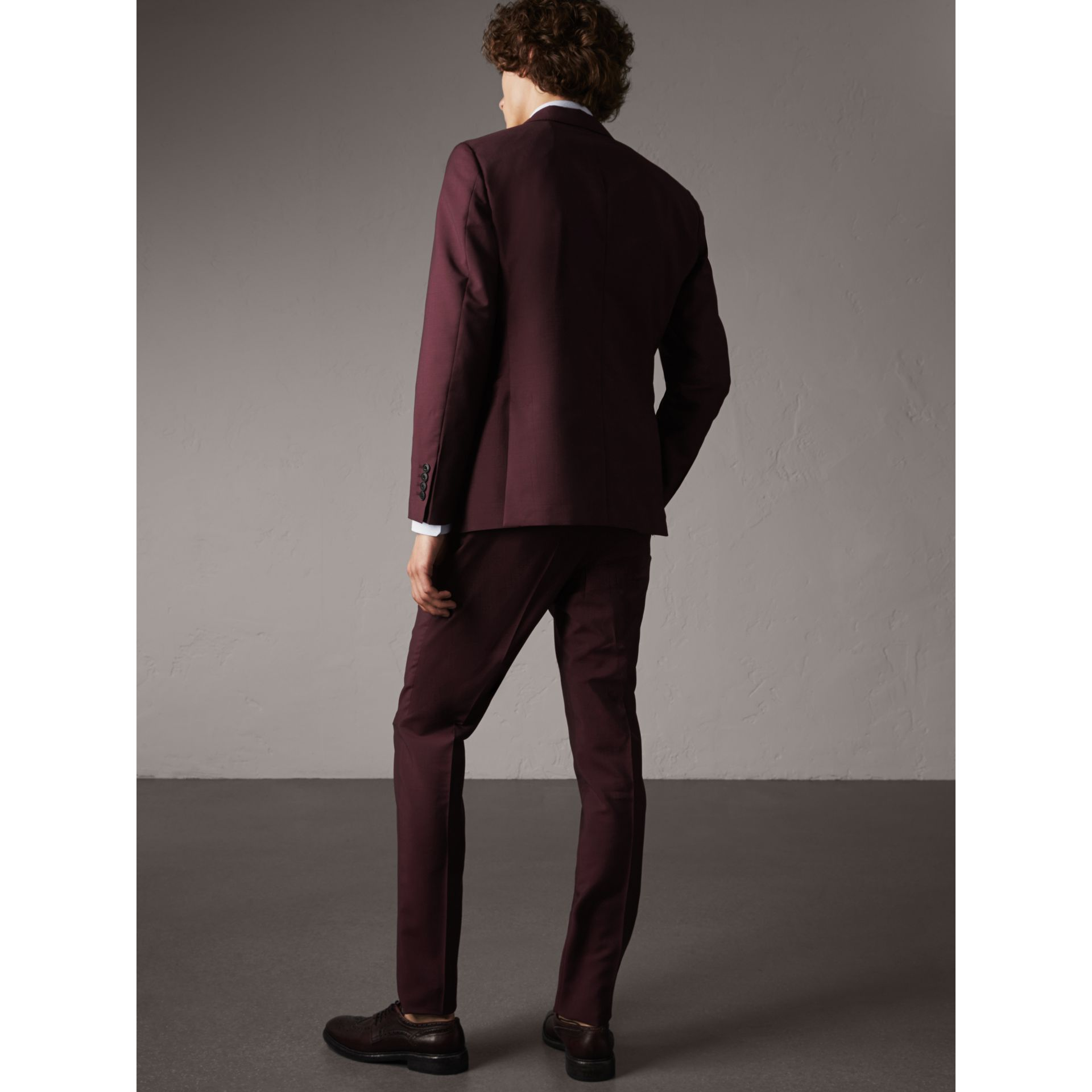 Soho Fit Wool Mohair Suit in Oxblood - Men | Burberry - gallery image 2