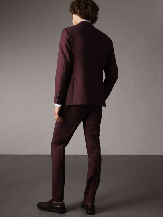 Soho Fit Wool Mohair Suit in Oxblood - Men | Burberry - cell image 2