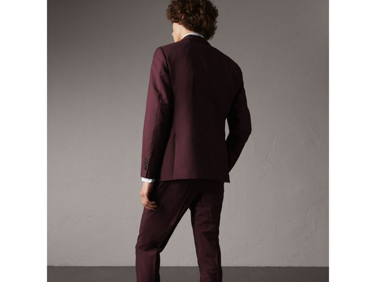 Slim Fit Wool Mohair Suit in Oxblood - cell image 1