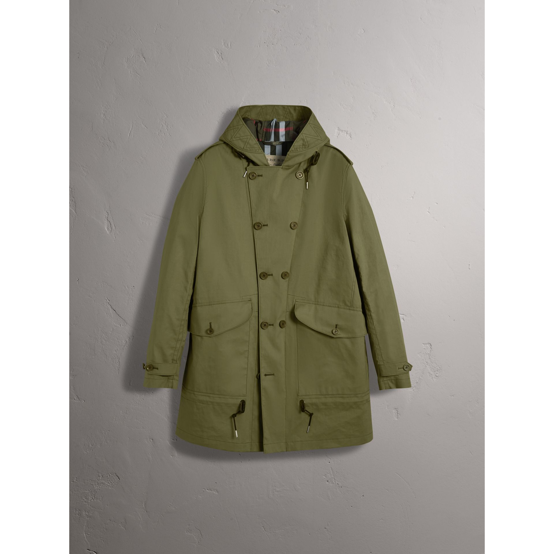 Bonded Cotton Parka with Detachable Warmer in Khaki Green - Men | Burberry - gallery image 4