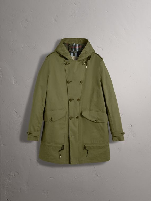 Bonded Cotton Parka with Detachable Warmer in Khaki Green - Men | Burberry - cell image 3