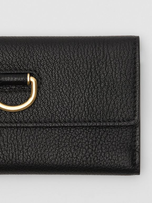 D-ring Grainy Leather Continental Wallet in Black - Women | Burberry United States - cell image 1