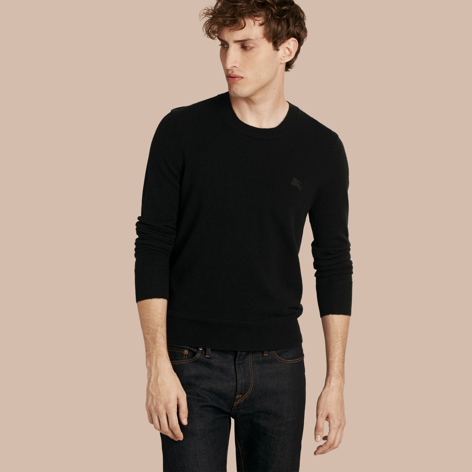 Crew Neck Cashmere Sweater Black - gallery image 1