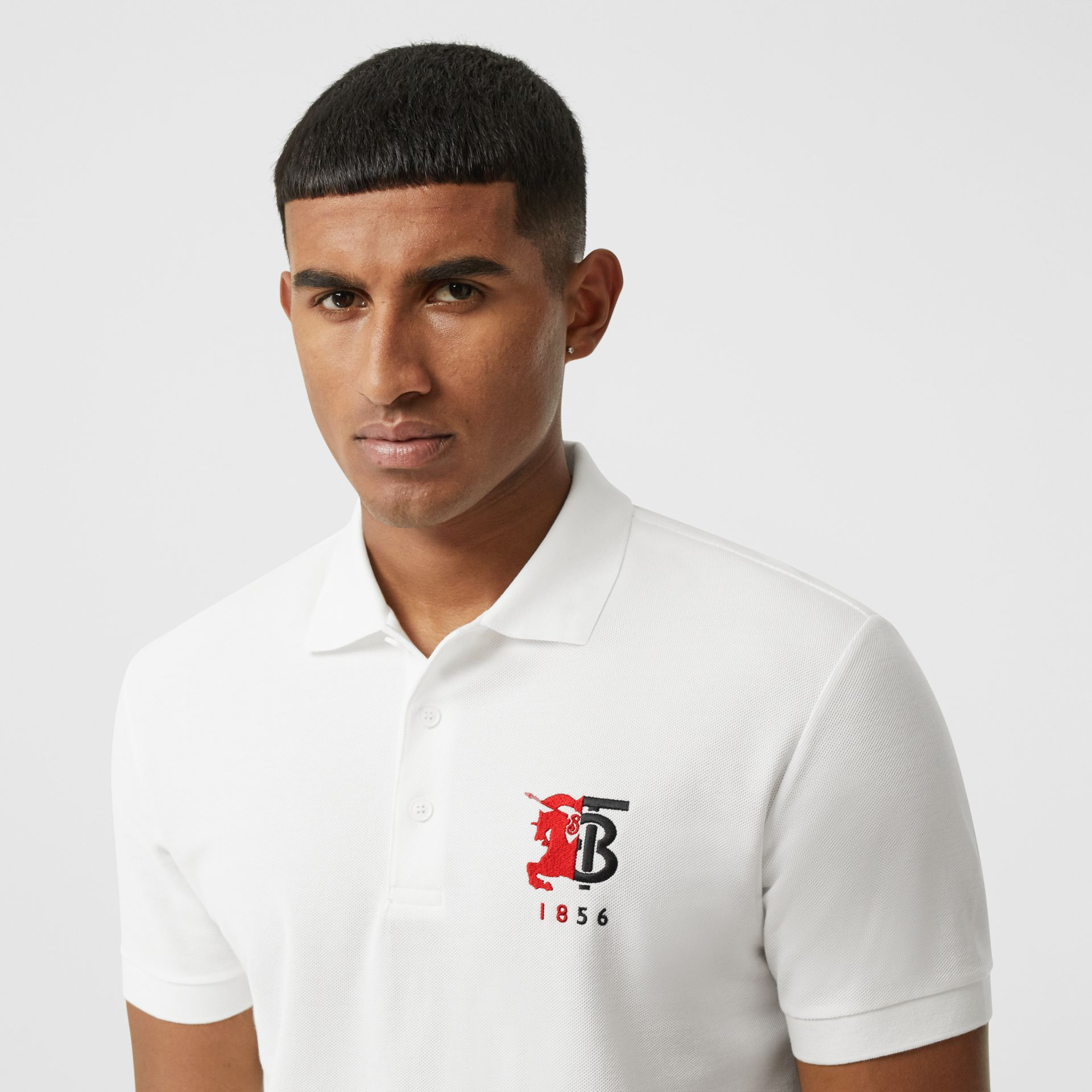 Contrast Logo Graphic Cotton Piqué Polo Shirt in White - Men | Burberry - gallery image 1