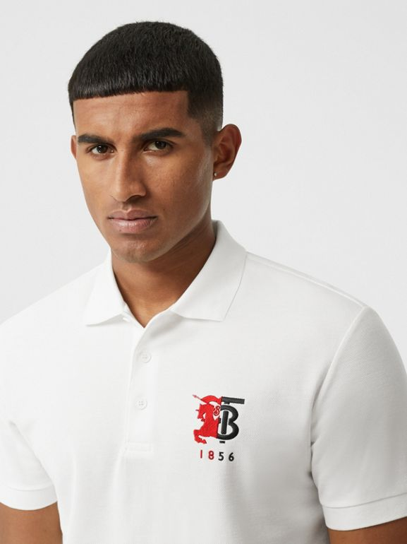 Contrast Logo Graphic Cotton Piqué Polo Shirt in White - Men | Burberry - cell image 1