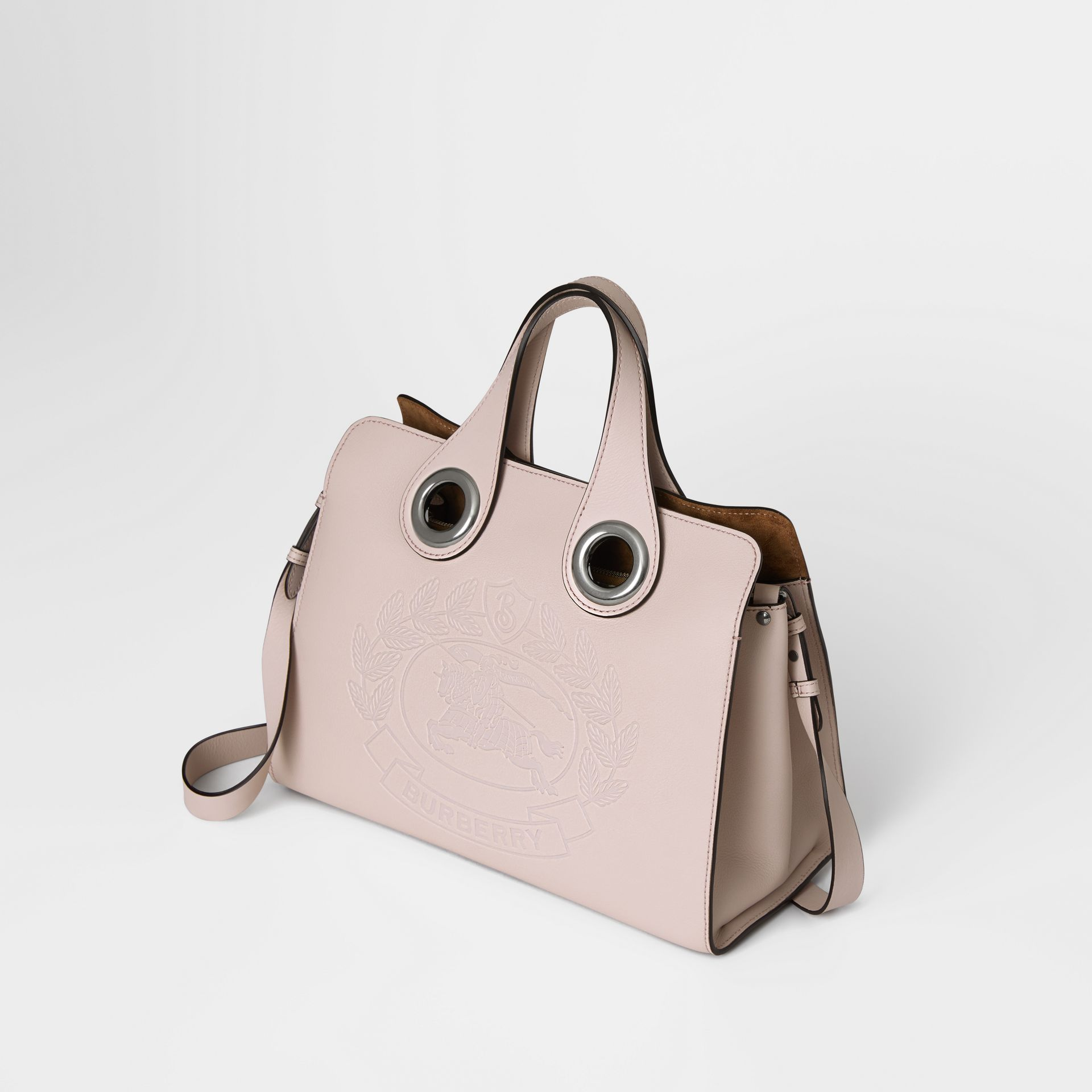 The Leather Crest Grommet Detail Tote in Chalk Pink - Women | Burberry - gallery image 4