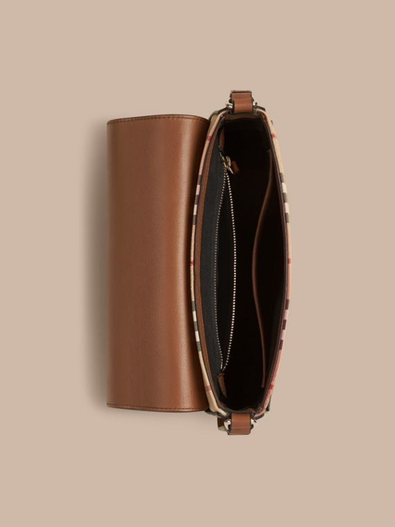 Honey/tan Small Horseferry Check and Leather Crossbody Bag Honey/tan - cell image 3