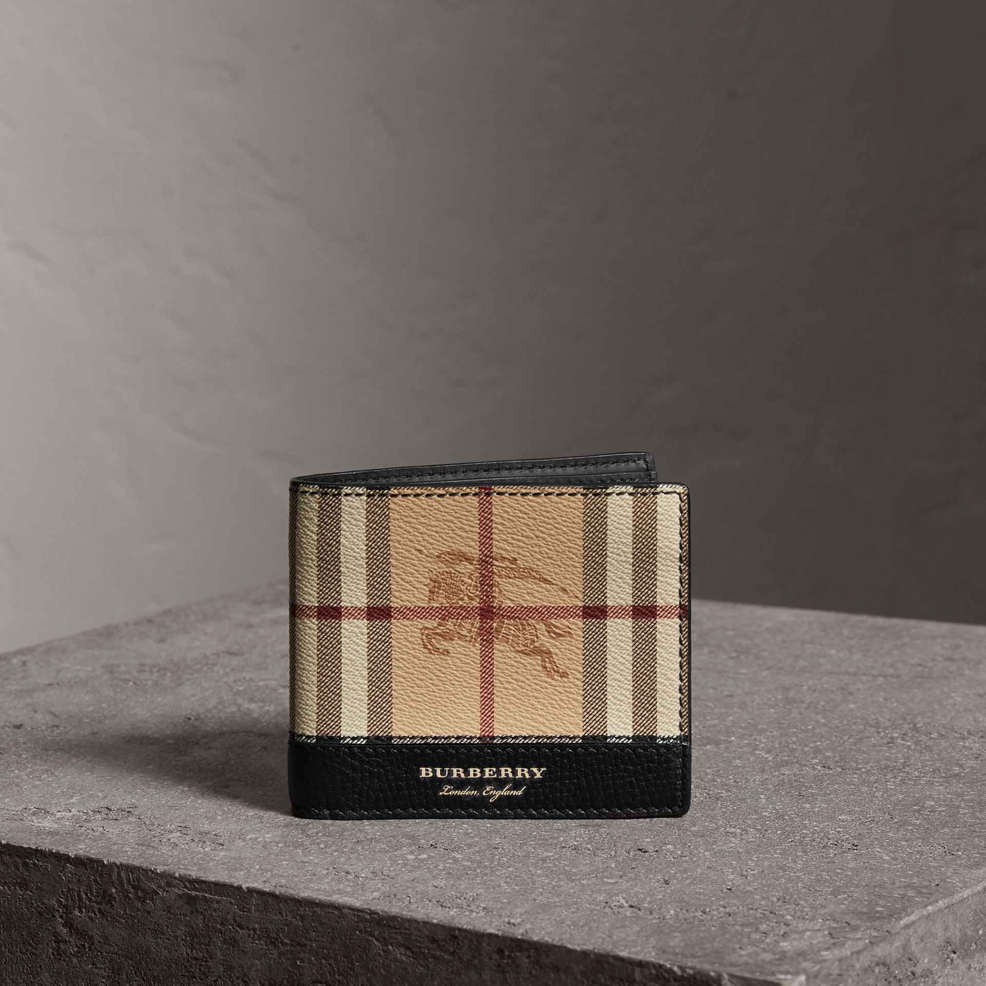 Haymarket Check and Leather International Bifold Wallet in Black - Men | Burberry Australia - gallery image 0