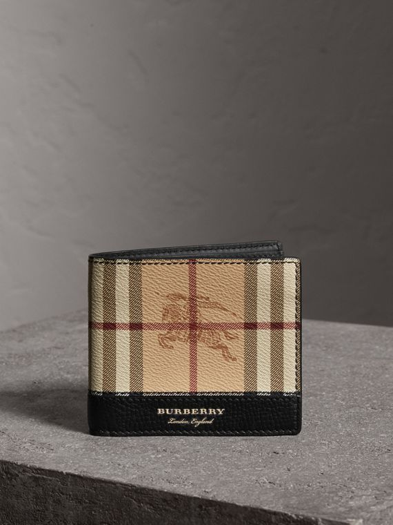Haymarket Check and Leather International Bifold Wallet in Black