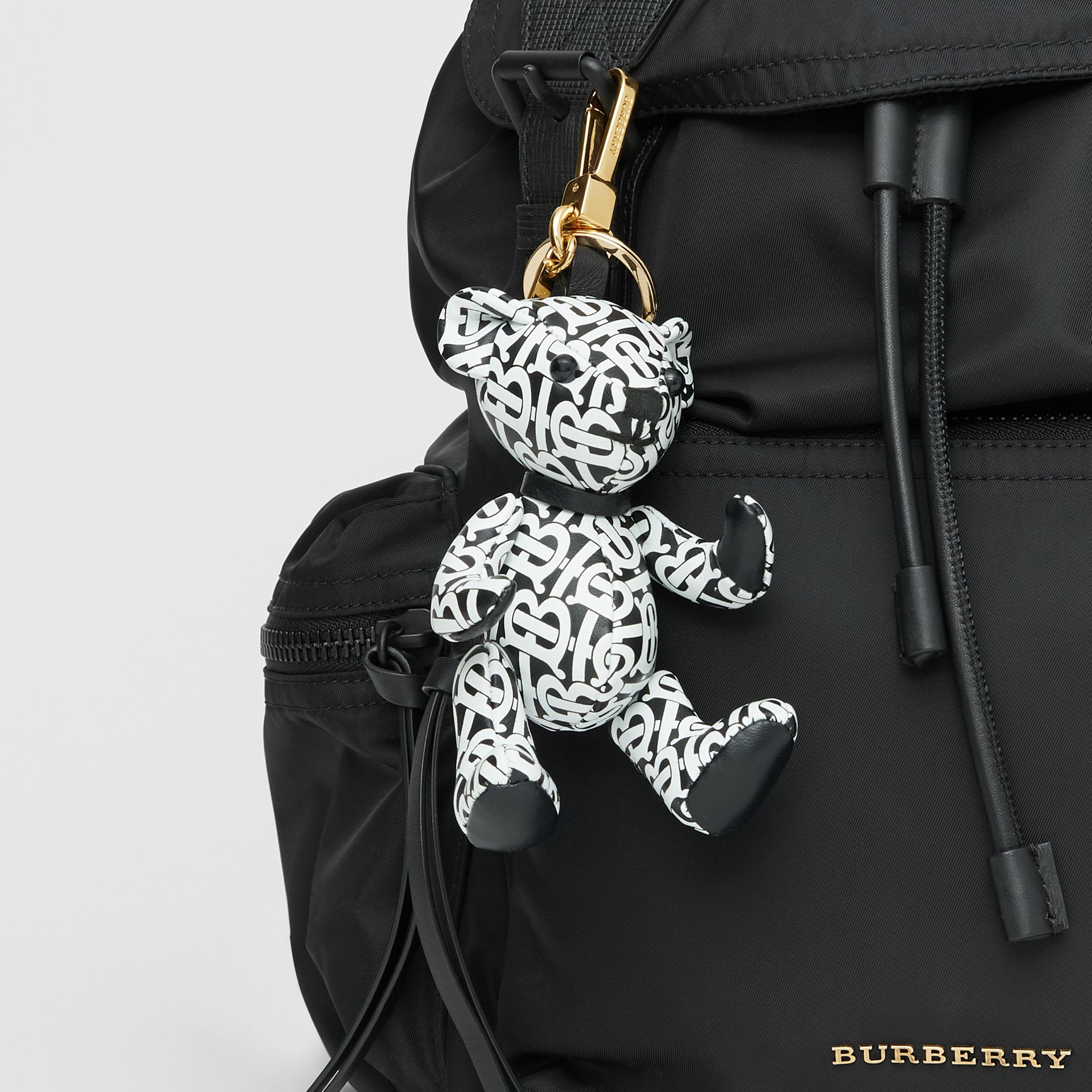 Thomas Bear Charm in Monogram Print Leather in Black/white - Women | Burberry Canada - gallery image 4