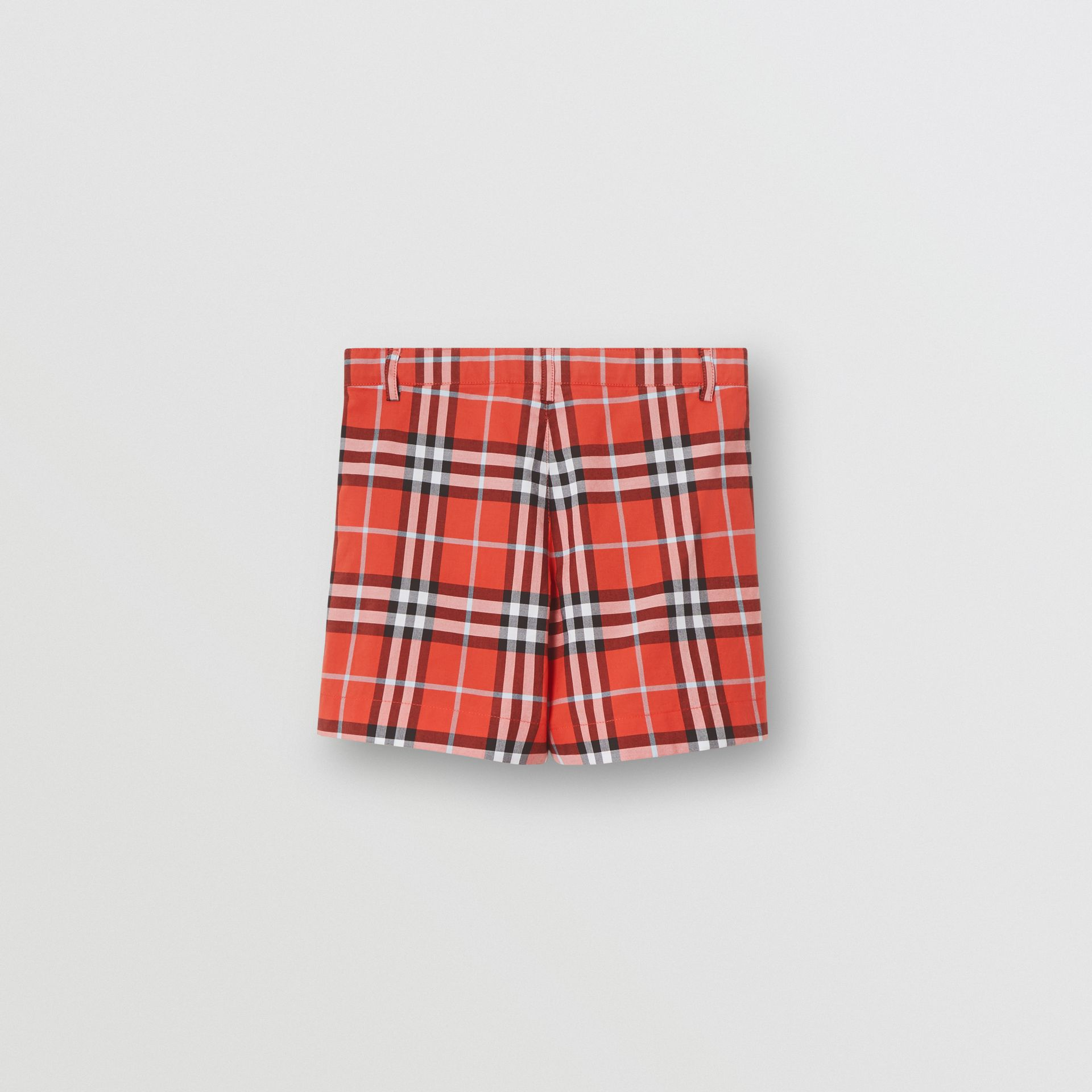 Check Cotton Tailored Shorts in Orange Red | Burberry Australia - gallery image 3
