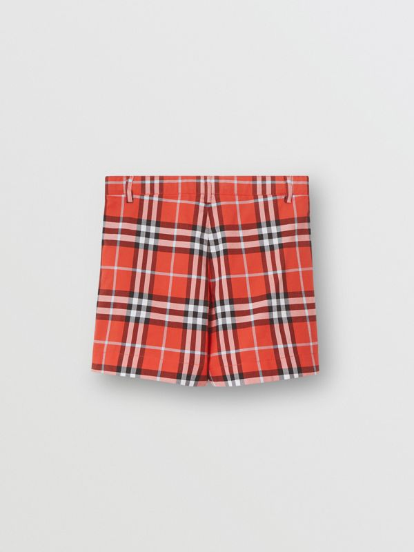 Check Cotton Tailored Shorts in Orange Red | Burberry - cell image 3