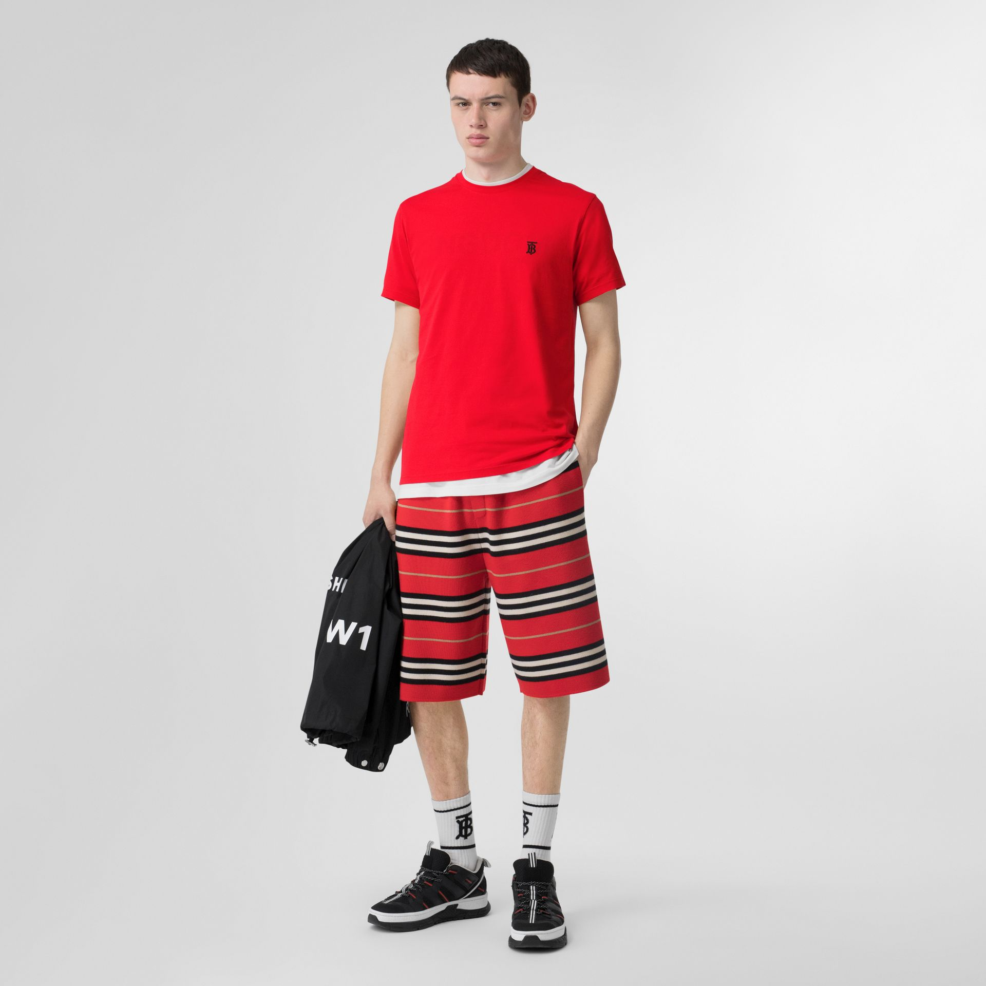 Monogram Motif Cotton T-shirt in Bright Red - Men | Burberry United Kingdom - gallery image 0