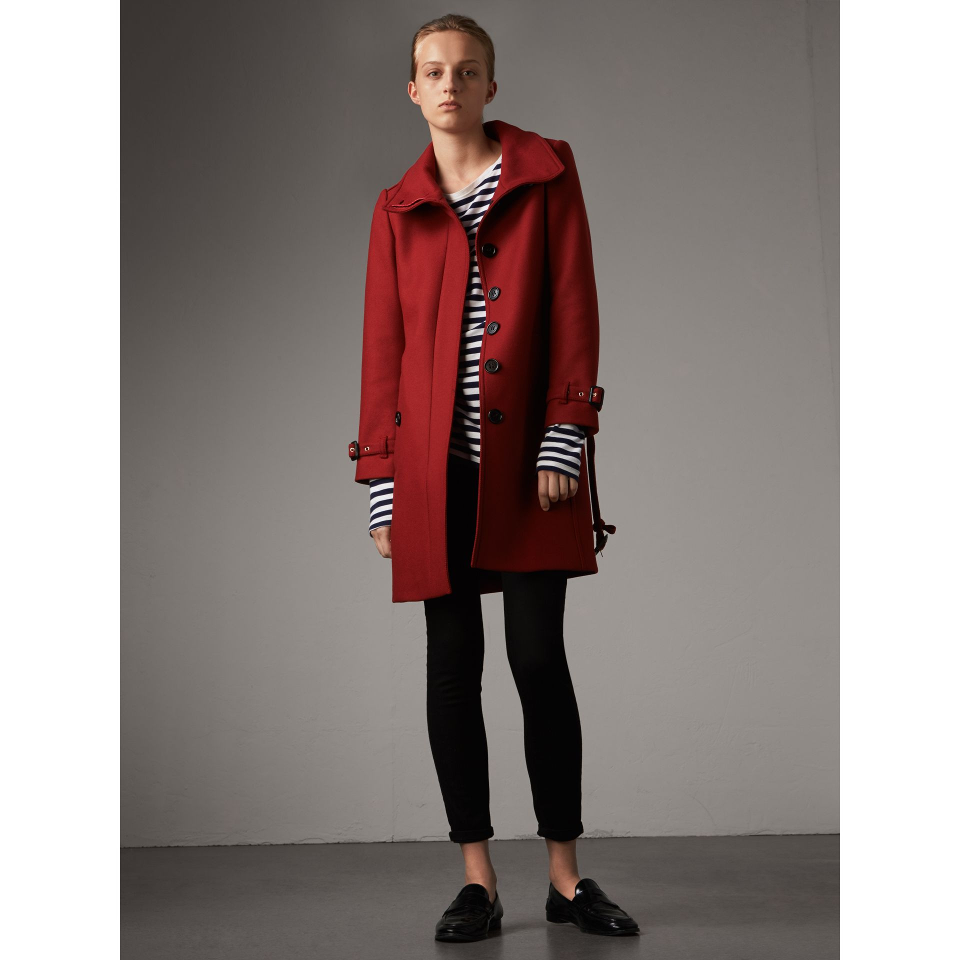 Technical Wool Cashmere Funnel Neck Coat in Damson Red - Women | Burberry - gallery image 1